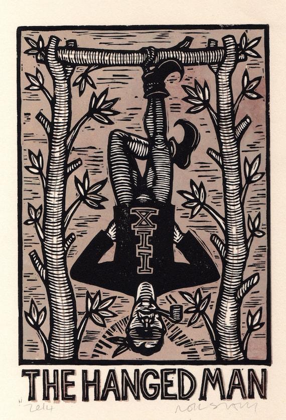Linocut Print The Hanged Man Tarot Card Block Print Occult