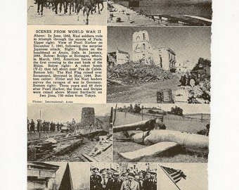 World War II Scenes - 1949 Vintage Encyclopedia Page for Framing, Collage, Scrapbooking, Paper Arts, Assemblage and MORE PSS 0266