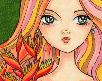 Original ACEO Art Heliconia Girl, Psychedelic, Shoujo Art, ATC, Art Card, Floral Illustration, Big Eye Girl, Bird of Paradise