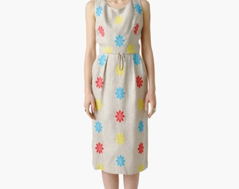 SALE - Vintage Primary Colors Embroidered Sun Dress