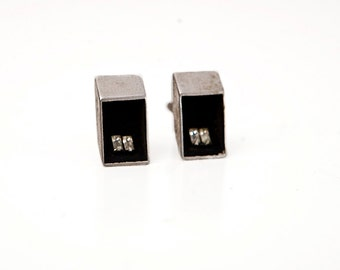 Men's Rhombus Cuff Links / Vintage Nickle with Cubic Zirconia Stones