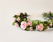 Boxwood floral bridal wreath, Pink rose flower crown, Boho wedding head piece - COUNTRYSIDE