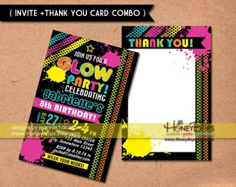 Glow, Neon, Birthday Invitation AND Thank You Card COMBO - Digital Files Only