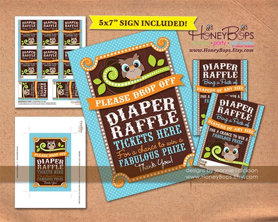 owl diaper raffle tickets and 5x7 inch table sign baby shower