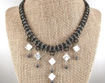 Chainmaille Celtic Visions Necklace, Stainless Steel, Enameled Copper, with White Howlite and Hematite Drops