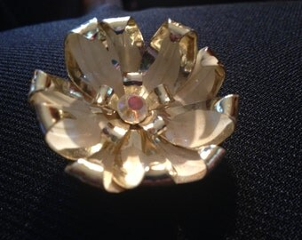 Vintage Goldtone Flower Pin with Iridescent Rhinestone Center Stone Brooch or Pin