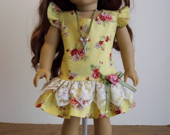 Yellow Floral Dress and Necklace- 18 inch Doll