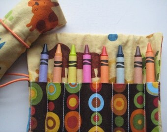 Crayon Roll Wallet Puppy Dogs Includes 8 Crayons