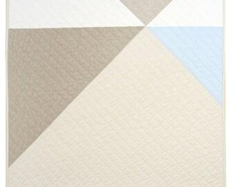 Modern Geometric Baby/Pet Quilt - Pinwheel (Baby Blue) Linen Blend