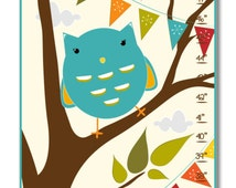 Custom Growth Chart - Fox and Owl Woodland - Canvas Growth Chart
