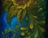 Flair - Peacock Large Surreal Acrylic Original Texture Painting on Canvas by ChingTeoh 51 x 114 cm or 20 x 45 inch / Deep Blue, Yellow, Gold