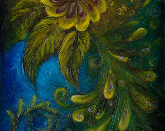 Flair - Peacock Large Surreal Acrylic Original Texture Painting on Canvas 20 x 45 inch / Deep Blue, Yellow, Gold / Bohemian Interior Decor