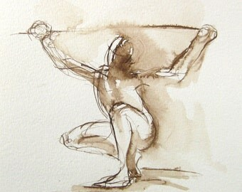 Original Figure Drawing -  Crouching Male - by Michelle Arnold Paine