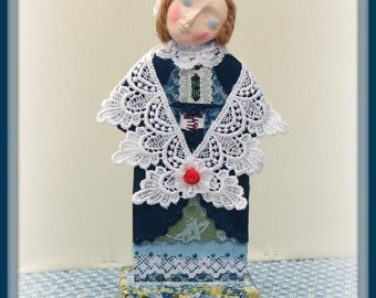 Serenity Handmade Mixed Media Victorian Collage Art Doll Decoration With Paper-Clay Face