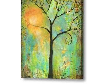 Oversized Art Extra Large Stretched Canvas Print 40X50 Giclee Blue Birds Art Tree of Life Decor Couple