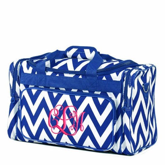 Personalized Duffle Bag Chevron Royal Blue Ballet Dance Travel
