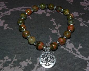 Unakite - Beauty Stone Tree of Life Om Buddha Bracelet