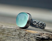 Cushion cut aqua Chalcedony ring - bezel set - sterling silver ring - floral band - cocktail ring