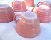 6 Retro Pink Cups -Hazel Atlas Moderntone- Platonite White Milk Glass -Six Coffee Tea Cup Set- 40s 1940s Pastel Kitchen -Shabby Cottage Chic - AngelGrace