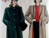 Vintage 1940s Coat Pattern Hollywood 1195 Bust 36 Boxy Coat