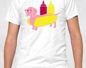 Men's Tee - Hot Dog Shirt - Sizes XS-S-M-L-XL-2XL-3XL Weiner Wiener Weenie Dachshund Dachsund Doxie Dachsie Dotsun toomanywaystospellthisdog