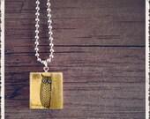 Scrabble Tile Art Pendant Necklace - Little Hoot Ow l- Scrabble Jewelry Charm - Customize