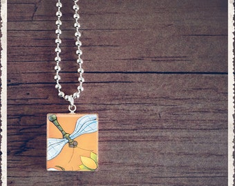 Scrabble Game Tile Jewelry - Dragonfly Orange - Scrabble Pendant Charm - Customize - Choose Your Style