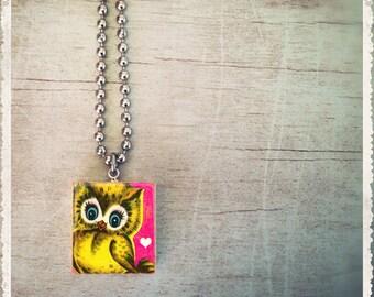 Scrabble Tile Necklace - I Love You Owl - Scrabble Art Charm Pendant Jewelry - Customize