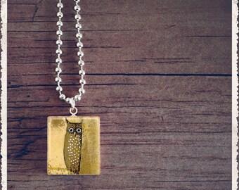 Owl Necklace, Scrabble Tile Necklace, Initial Necklace, Initial Pendant, Little Hoot Owl, Scrabble Jewelry Charm, Gift Idea, Unique Gift