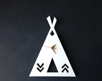 SALE White wall clock Tipi Time Teepee Clock Wall decor Home decor Living room Summer Decor under 50