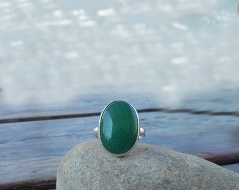 Aventurine Ring, green ring,  Sterling Silver ring , Statement green ring, Green Aventurine Gemstone ring, Cocktail ring