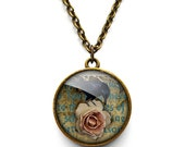 Raven and Pink Rose Necklace (RR05)