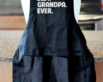 Best Grandpa Ever Personalized Typography Apron customized with any name, great bbq gift for dad, father's day