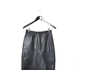 black LEATHER pencil skirt 80s vintage MINIMALIST high waisted black mini skirt