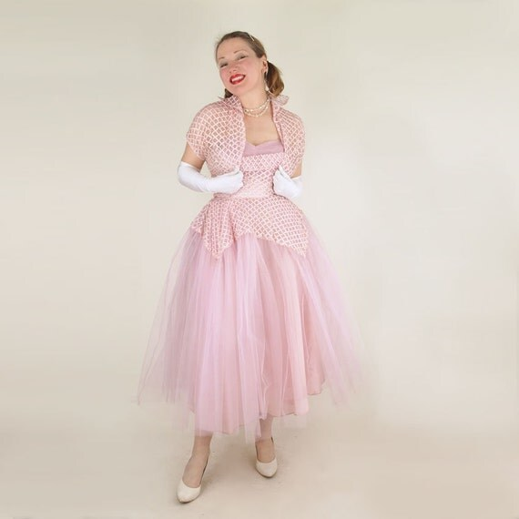 50s Lavender Pink Strapless Full Skirt Prom Party Dress and Bolero S M