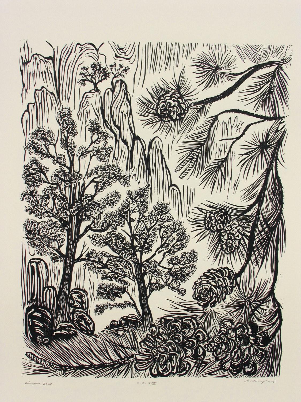 Pinyon Pine Tree Original Woodblock Print Forest Mountain