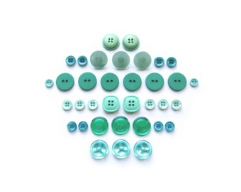 Vintage Teal Buttons . Aqua Button Sets . Retro Button Assortment . DIY . Sewing Supplies