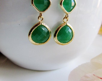Green Earrings, Jade Green, Gold Earrings, Gold Edge, Drop Earrings, Green Color Block, Green Teardrop, Gardendiva