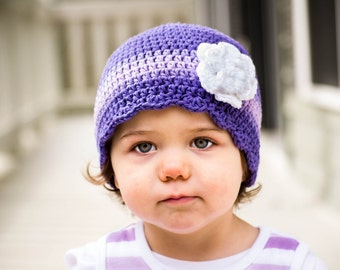 9 Sizes Purple Hat Baby Hat Baby Girl Hat Toddler Hat Toddler Girl Hat Womens Hat Baby Beanie Toddler Beanie Flower Hat Grape Lavender