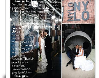 Cotton Anniversary Photo Gift, Photo Collage on Canvas, Wedding Pictures Gift, Vows and Lyrics