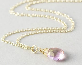 Pink Quartz Drop Necklace, Light Pink Pendant Necklace, Handmade