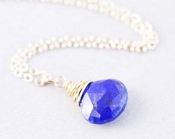 Lapis Drop Necklace, Blue Stone Necklace, December Birthstone