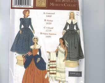 Doll Sewing Pattern Simplicity 5913 Barbie 11 1/2 Inch Fashion Doll Historical Colonial Pilgrim Indian Native American Pioneer UNCUT