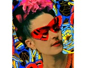 Frida Kahlo Butterfly Art Deco Poster Print Mask Collage Instant Digital Download Photomontage Monarch Painted Photograph Red Blue Yellow