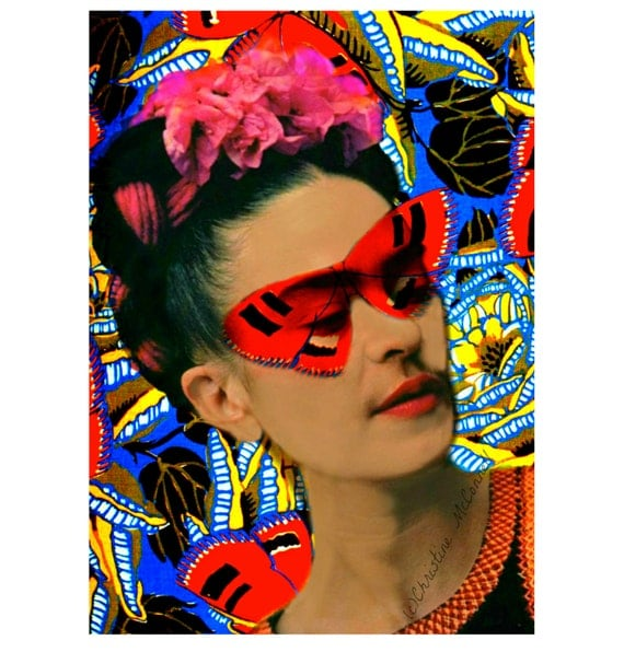 Télécharger Digital instant Frida Kahlo papillon affiche impression masque Collage Photomontage Art déco Monarch peint photographie rouge jaune bleu