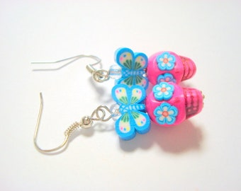 Pink and Turquoise Sugar Skull Mariposa Earrings