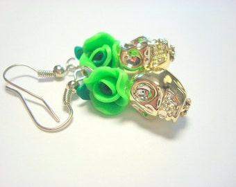 Day of the Dead Rose and Sugar Skull Earrings in Green and Gold