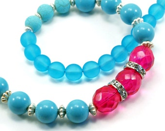 SALE - Aqua and hot pink colorblock necklace with rhinestone accent