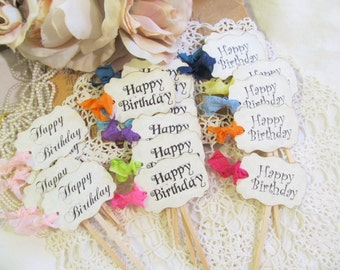 Happy Birthday Cupcake Toppers Party Picks - Set of 18 - Choice of Font and Ribbon Color - Milestone Sweet 16 Birthday Party