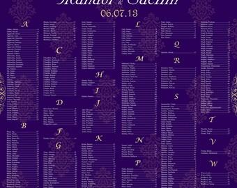 Royal Purple Seating Chart- Printable